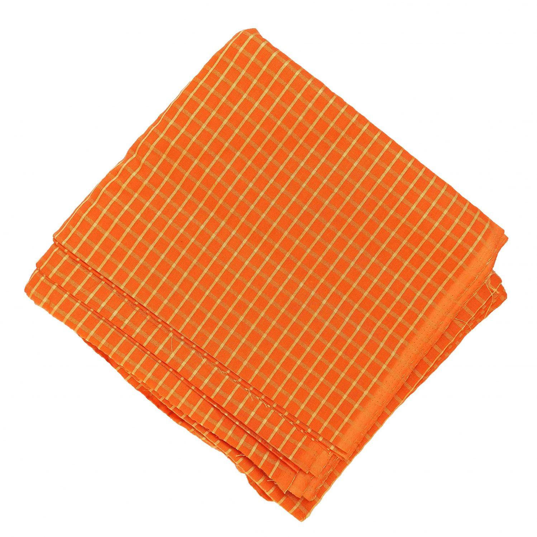 Orange Pure Cotton Base with Golden Check Plain Suit piece of 5 meters length CJ027 1