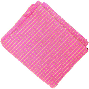 Pink Pure Cotton Base with Golden Check Plain Suit piece 5 meters length CJ028