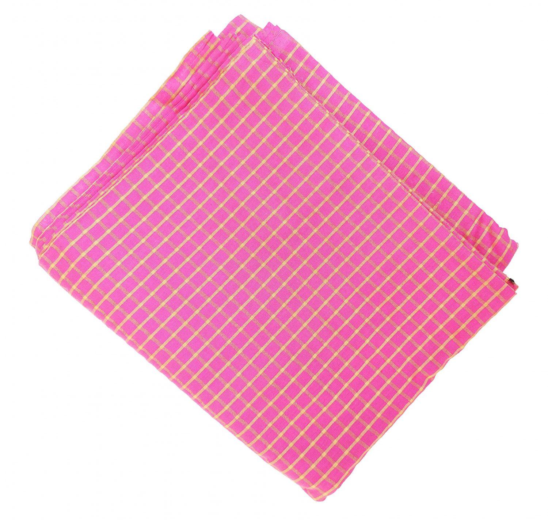 Pink Pure Cotton Base with Golden Check Plain Suit piece 5 meters length CJ028 1