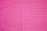 Pink Pure Cotton Base with Golden Check Plain Suit piece 5 meters length CJ028