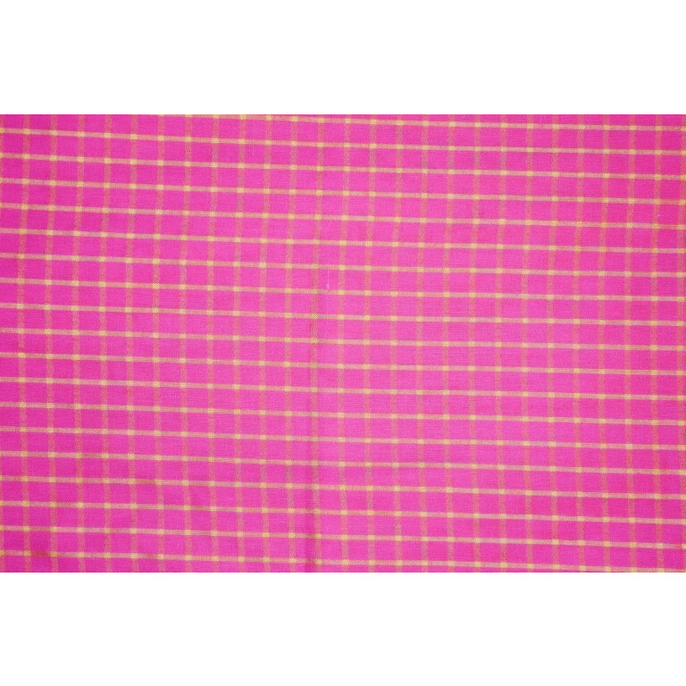 Pink Pure Cotton Base with Golden Check Plain Suit piece of 4.5 meters length CJ028
