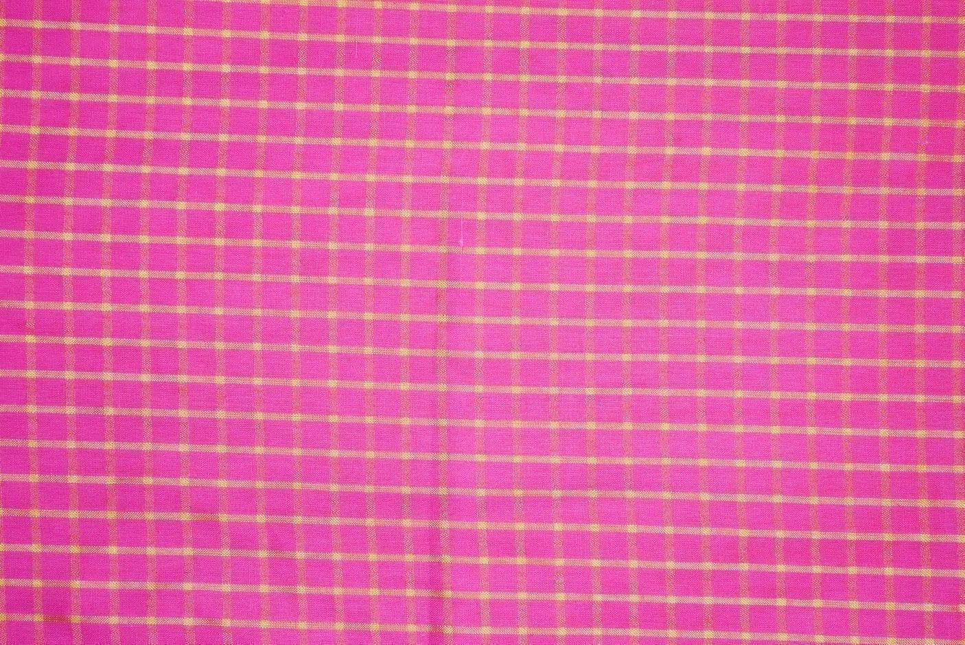 Pink Pure Cotton Base with Golden Check Plain Suit piece 5 meters length CJ028 2
