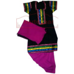 Black Phulkari Top with Magenta salwar Designer Punjabi Patiala Kids Suit DS001
