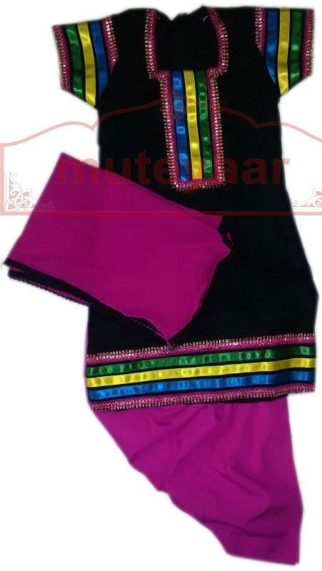 Black Phulkari Top with Magenta salwar Designer Punjabi Patiala Kids Suit DS001 1