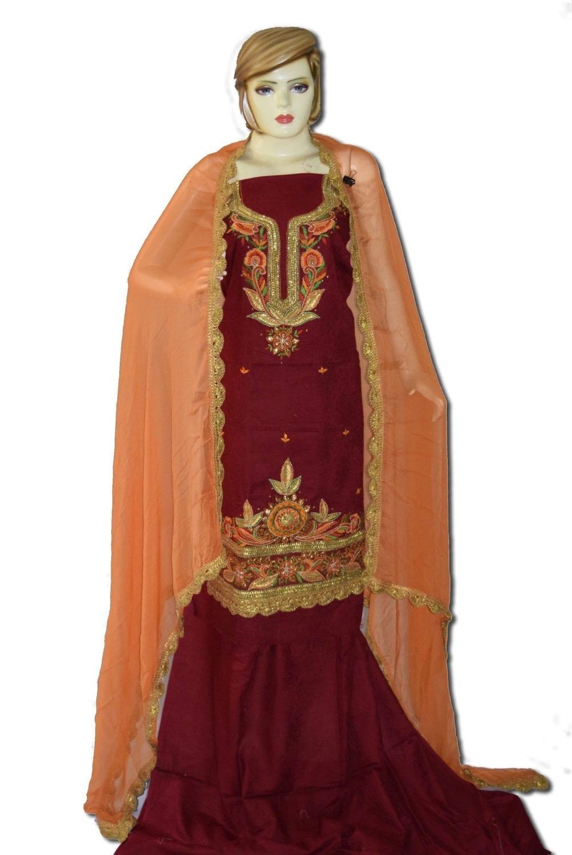 Designer Gota Patti Embroidery 100% cotton Salwar Suit CHIFFON Dupatta RM329 1