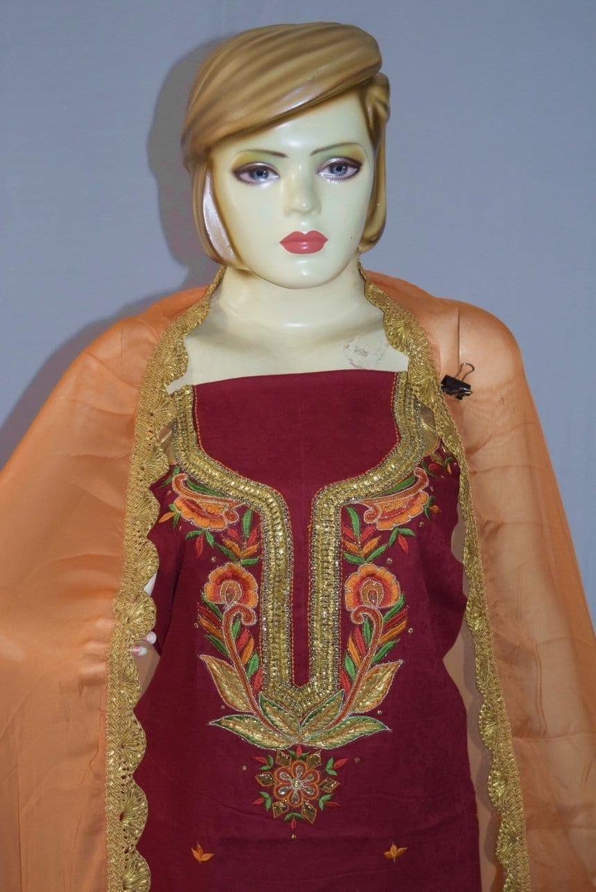 Designer Gota Patti Embroidery 100% cotton Salwar Suit CHIFFON Dupatta RM329 2