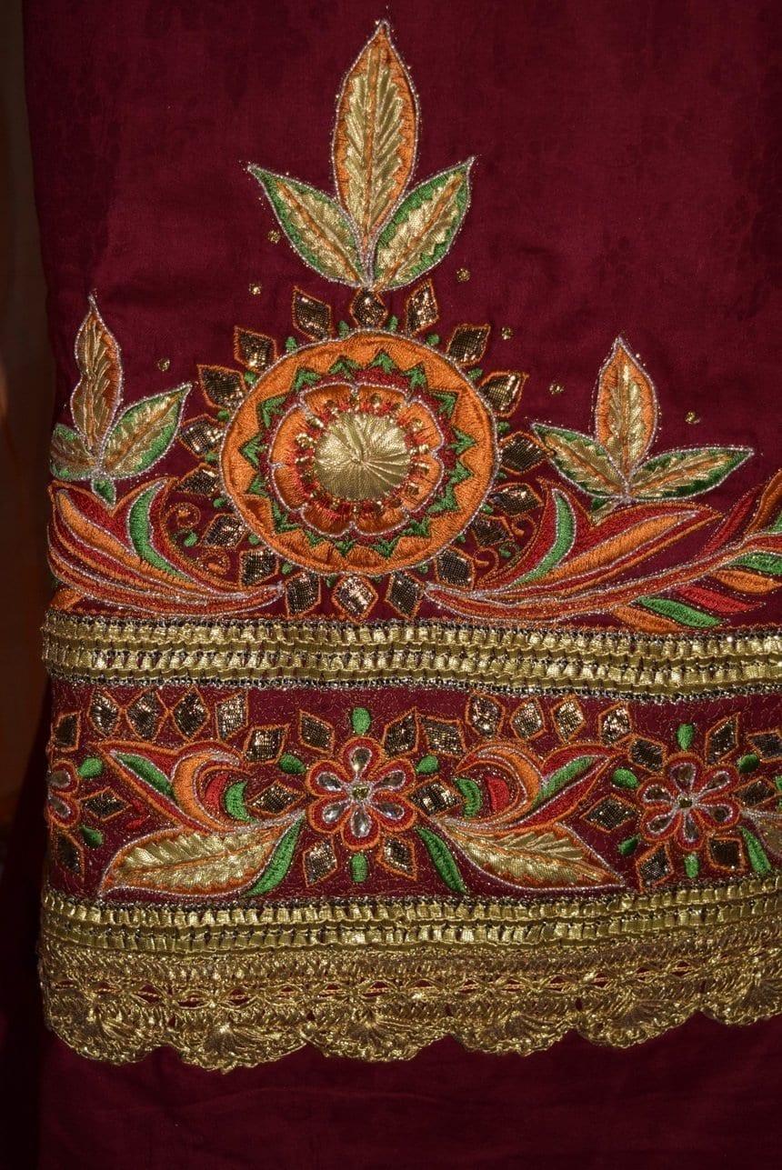 Designer Gota Patti Embroidery 100% cotton Salwar Suit CHIFFON Dupatta RM329 3