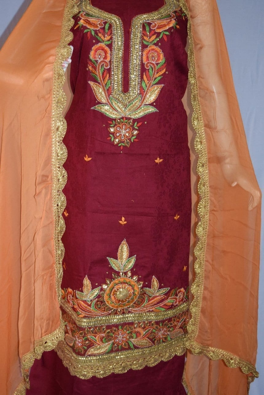 Designer Gota Patti Embroidery 100% cotton Salwar Suit CHIFFON Dupatta RM329 4