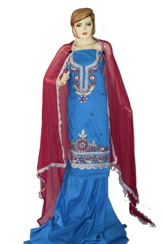 Designer Gota Patti Embroidery 100% cotton Salwar Suit CHIFFON Dupatta RM330 1