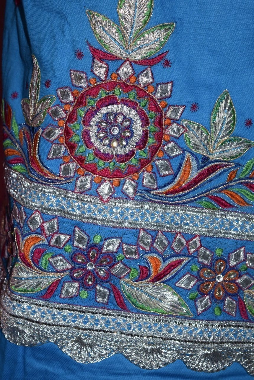 Designer Gota Patti Embroidery 100% cotton Salwar Suit CHIFFON Dupatta RM330 3