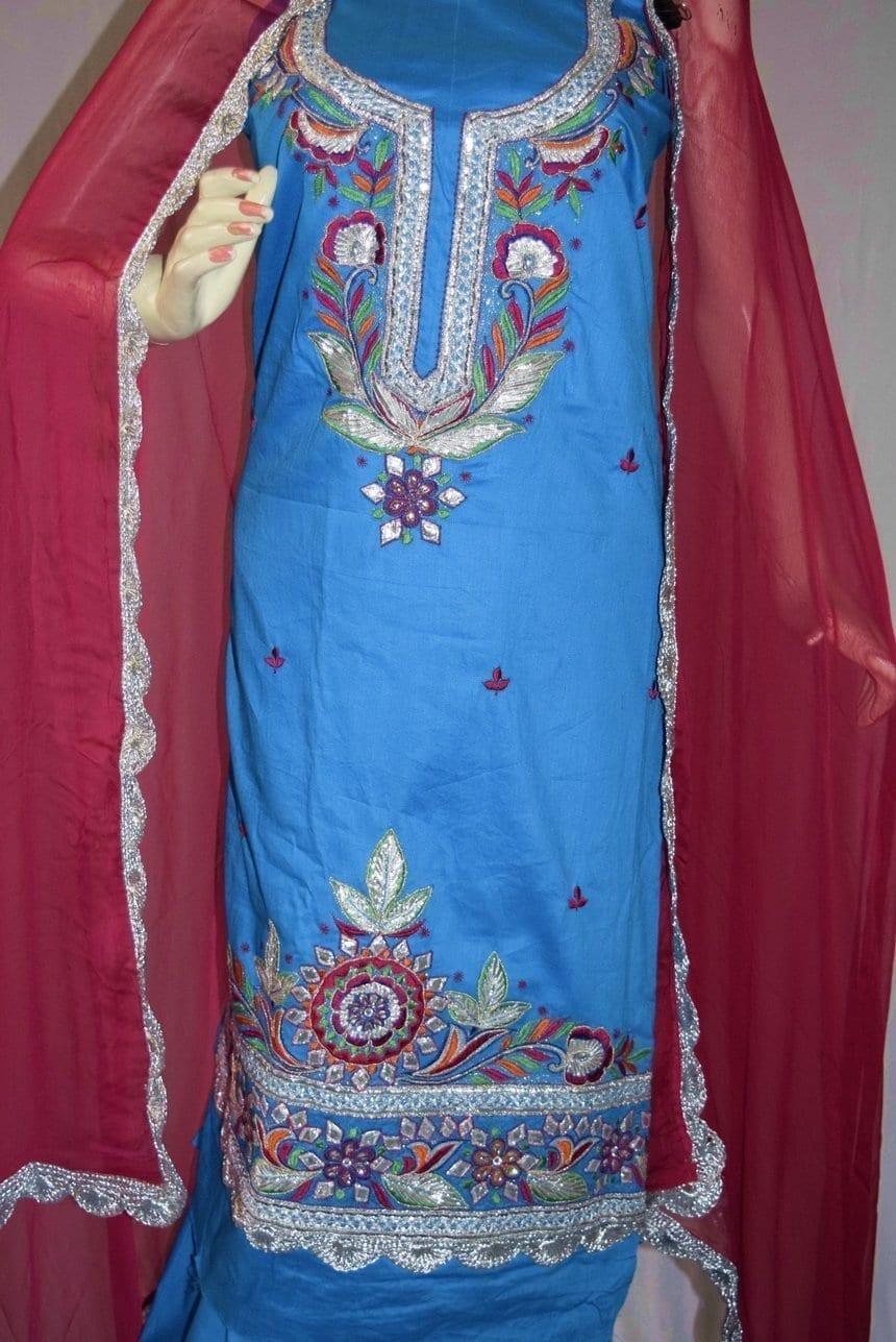 Designer Gota Patti Embroidery 100% cotton Salwar Suit CHIFFON Dupatta RM330 4
