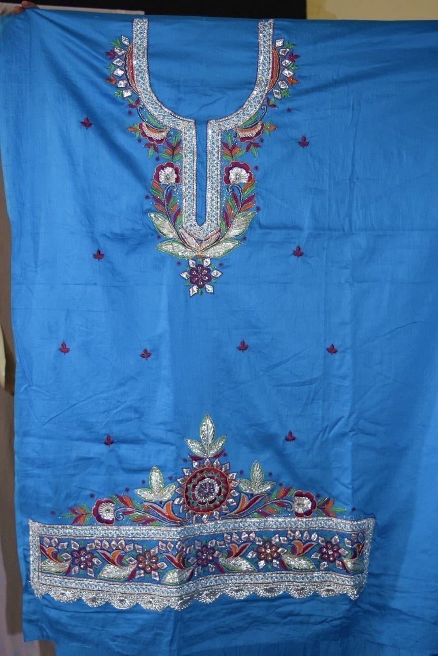 Designer Gota Patti Embroidery 100% cotton Salwar Suit CHIFFON Dupatta RM330 5