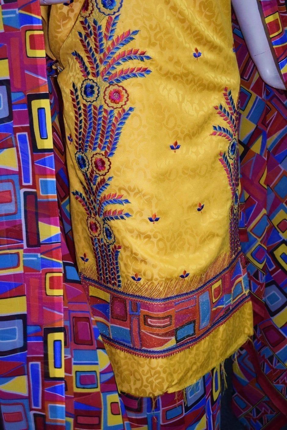 Designer Embroidery Georgette Salwar Dupatta with Cotton Kameez RM338 2