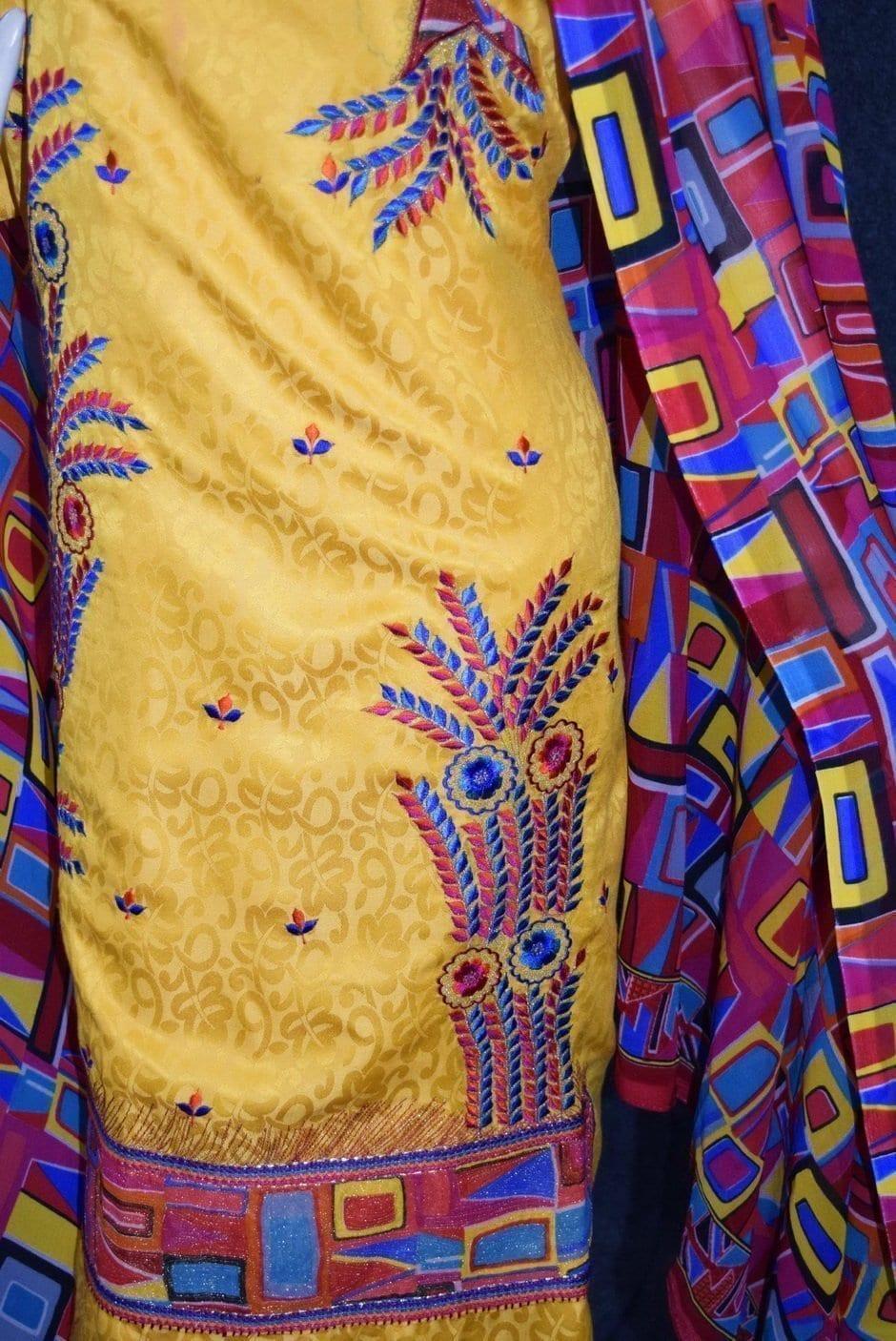 Designer Embroidery Georgette Salwar Dupatta with Cotton Kameez RM338 3