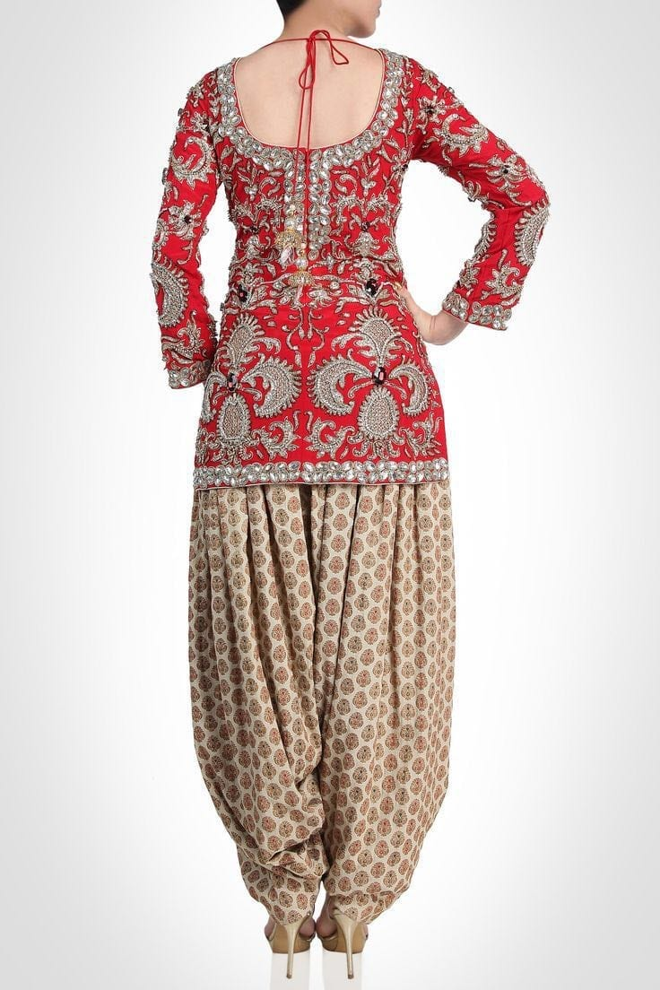 FULL Embroidered Red and Fawn Colour Combination partywear Patiala Suit RS019 1