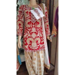 FULL Embroidered Red and Fawn Colour Combination partywear Patiala Suit RS019