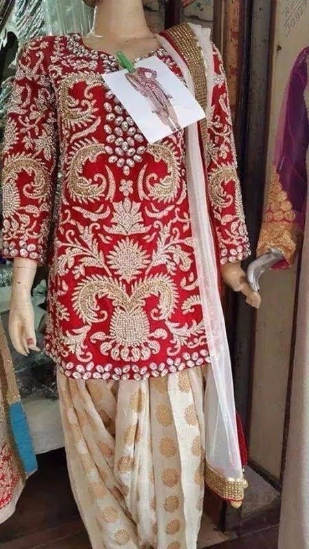 FULL Embroidered Red and Fawn Colour Combination partywear Patiala Suit RS019 2