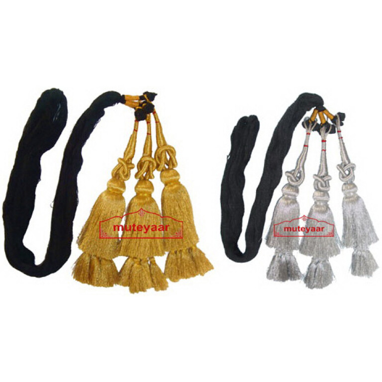 Pack of 2 - GOLDEN & SILVER Traditional Punjabi Paranda tassles Hair Braids