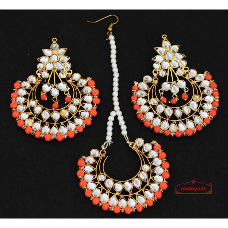 kundan earrings tikka set J0333
