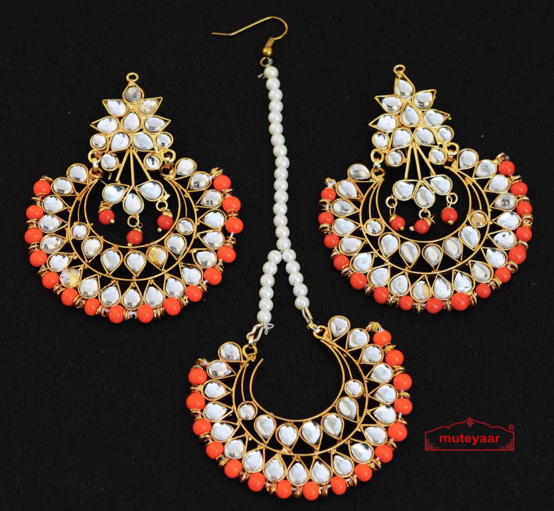 Kundan Earrings Tikka set J0333 1