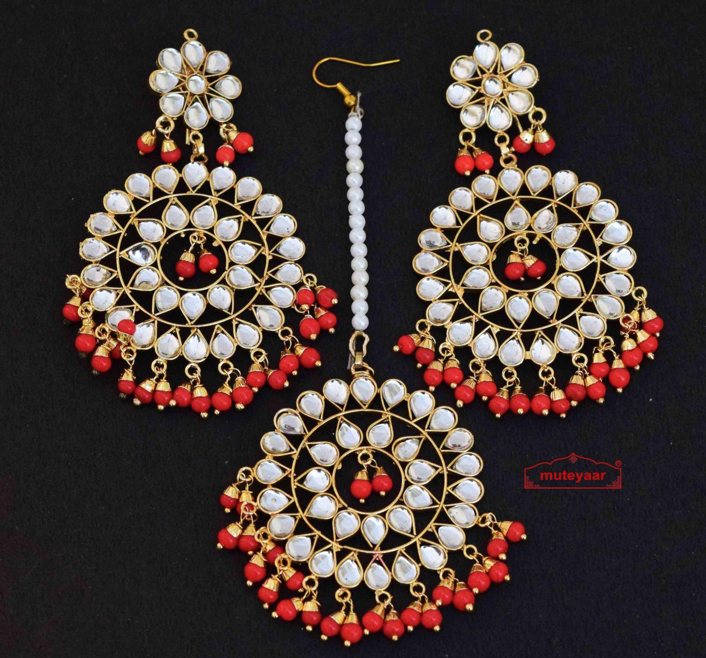 Kundan Tikka Set with Red Beads J0339 1