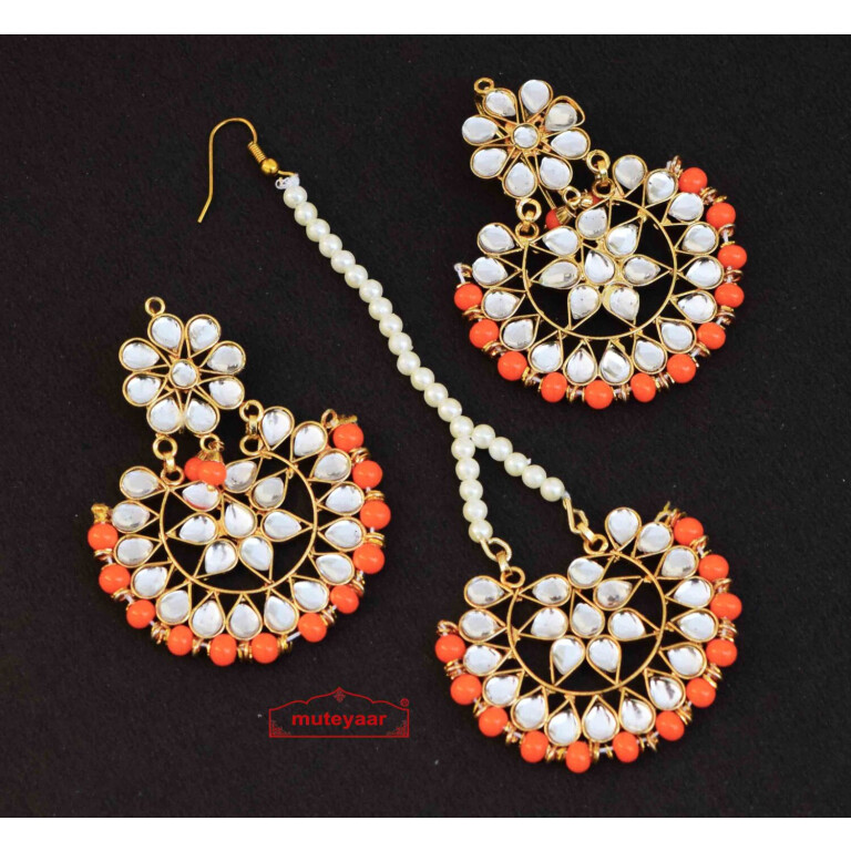 Earrings Tikka Kundan Work set J0340