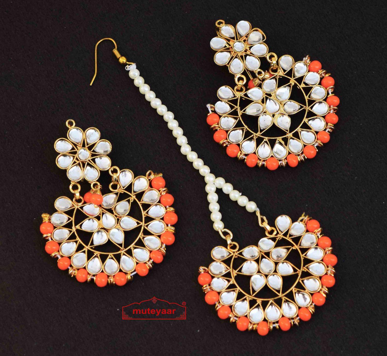 Earrings Tikka Kundan Work set J0340 1