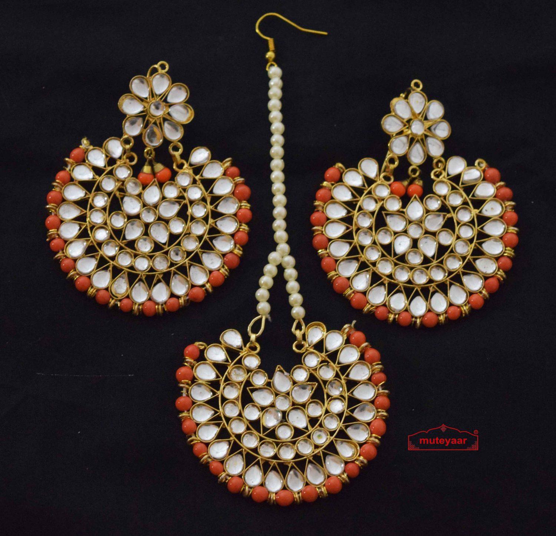 Punjabi Traditional Jewellery Earrings Tikka Kundan Work set J0343 1