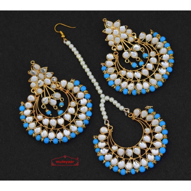 Firozi Earrings Tikka Set Kundan Set J0347