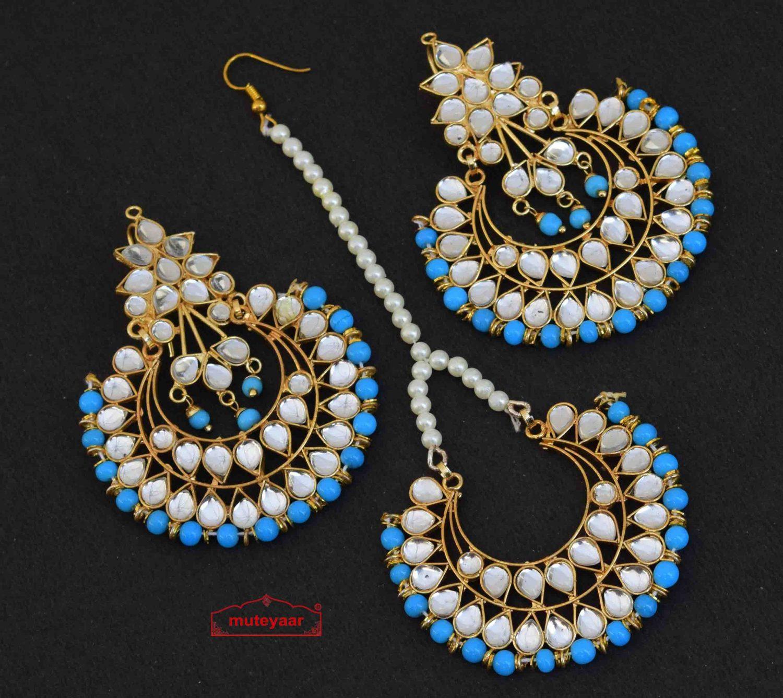 Firozi Earrings Tikka Set Kundan Set J0347 1