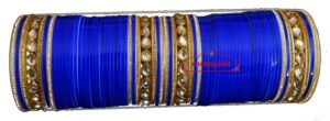 Royal Blue Bridal Wedding Chura with Kundan & Zircons for the Punjabi Bride CH008