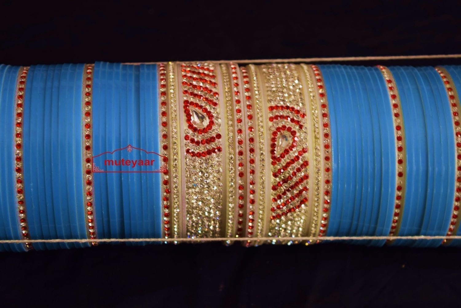 Firozi Wedding Chura with Zircons for the Punjabi Bride - Custom Made CH009 3