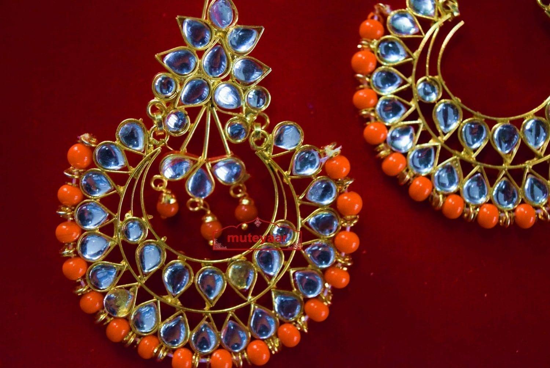 Kundan Work Punjabi Traditional Jewellery Earrings Tikka set J0333 3