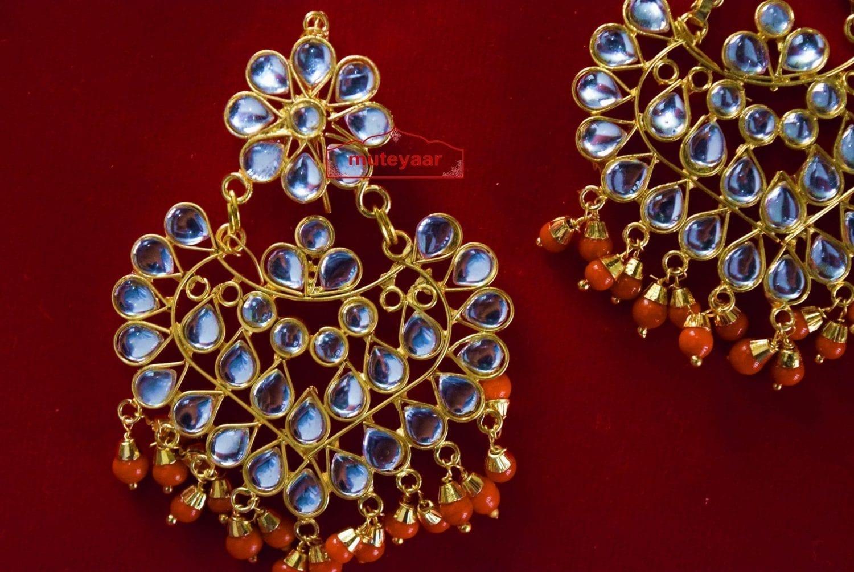 Punjabi Traditional Jewellery Earrings Tikka Kundan Work set J0335 2