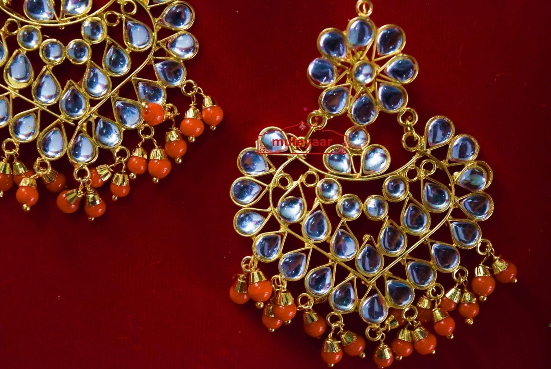 Punjabi Traditional Jewellery Earrings Tikka Kundan Work set J0335 3