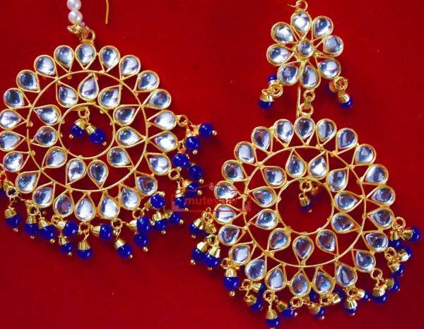 Punjabi Traditional Jewellery Earrings Tikka Kundan Work set J0336
