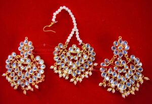 Punjabi Traditional Jewellery Earrings Tikka Kundan Work set J0341