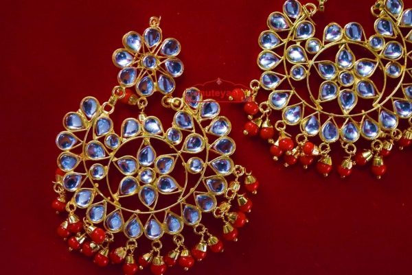 Punjabi Traditional Jewellery Bollywood Earrings Tikka Kundan Work set J0346