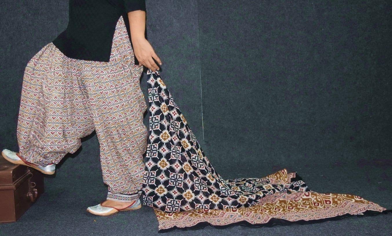 Ready to wear Pure Cotton Printed Patiala Salwar + Print cotton Dupatta PSD200 1