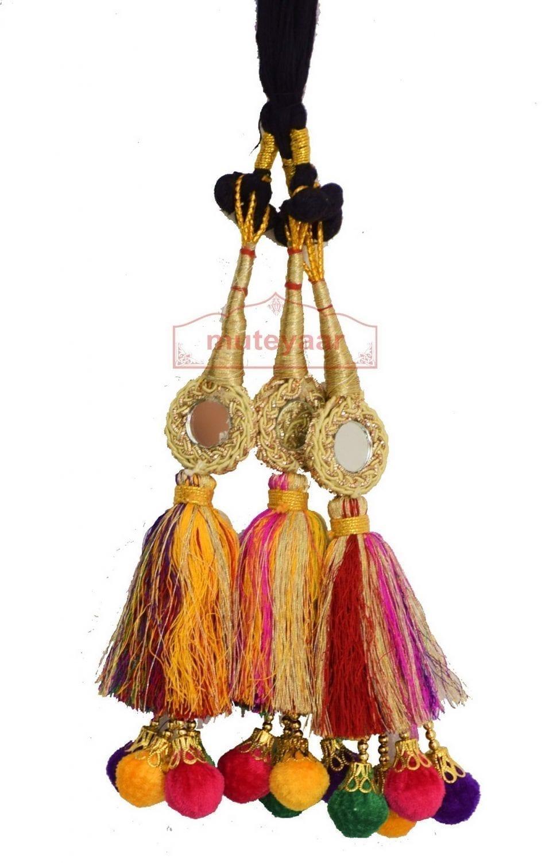 Multi Colour Laddoo Mirrors Paranda parandi Pure Punjabi style ethnic Tassles 1