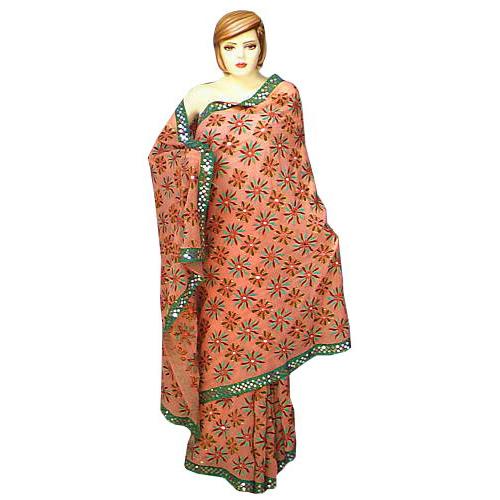 Peach Kantha Work Saree Hand Embroidered Party Wear Sari S0031 1