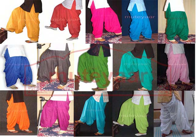 Wholesale Patiala Salwars Bulk Lot of 15 Pieces Plain Cotton Shalwars 1