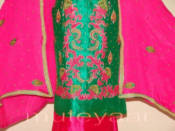 100% PURE SILK Hand Embroidered Party Wear Salwar Suit H0188