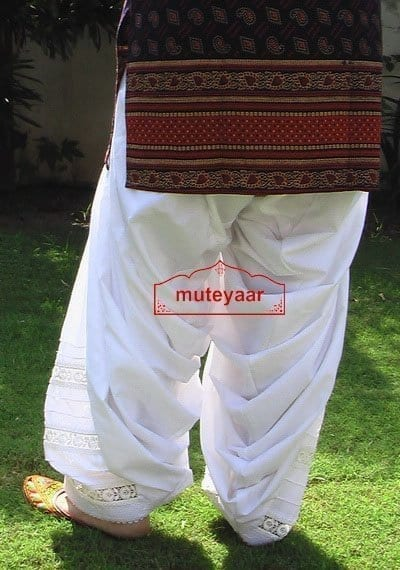 Lace Work Patiala Salwar Custom Made with Pintex Design