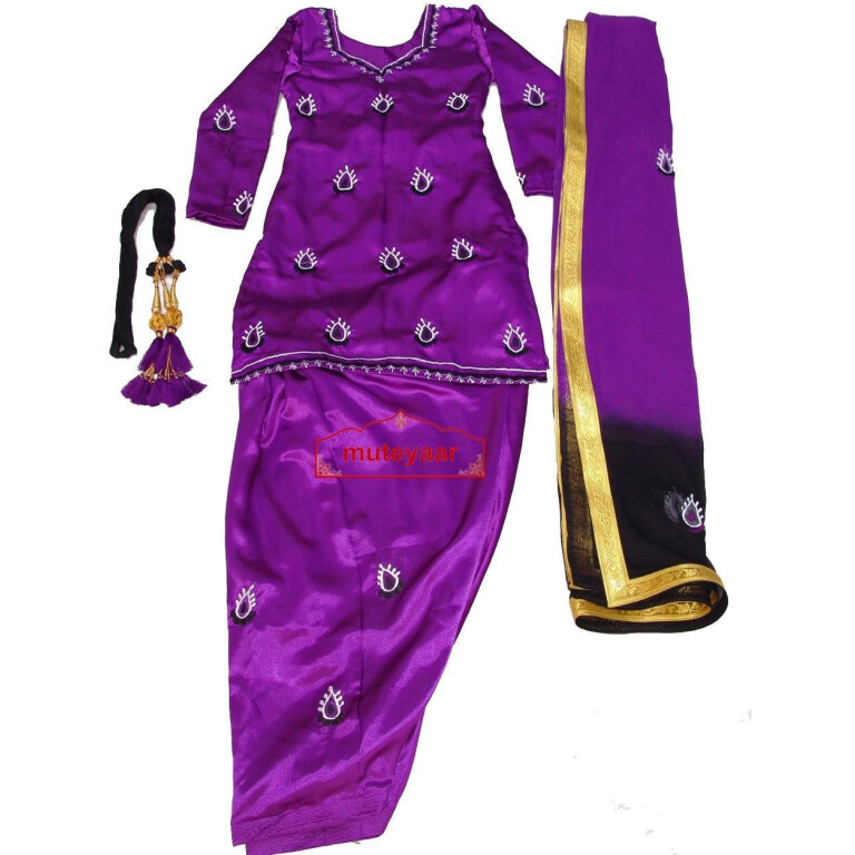 Purple Black Girl's embroidered Giddha Bhangra Costume outfit dress