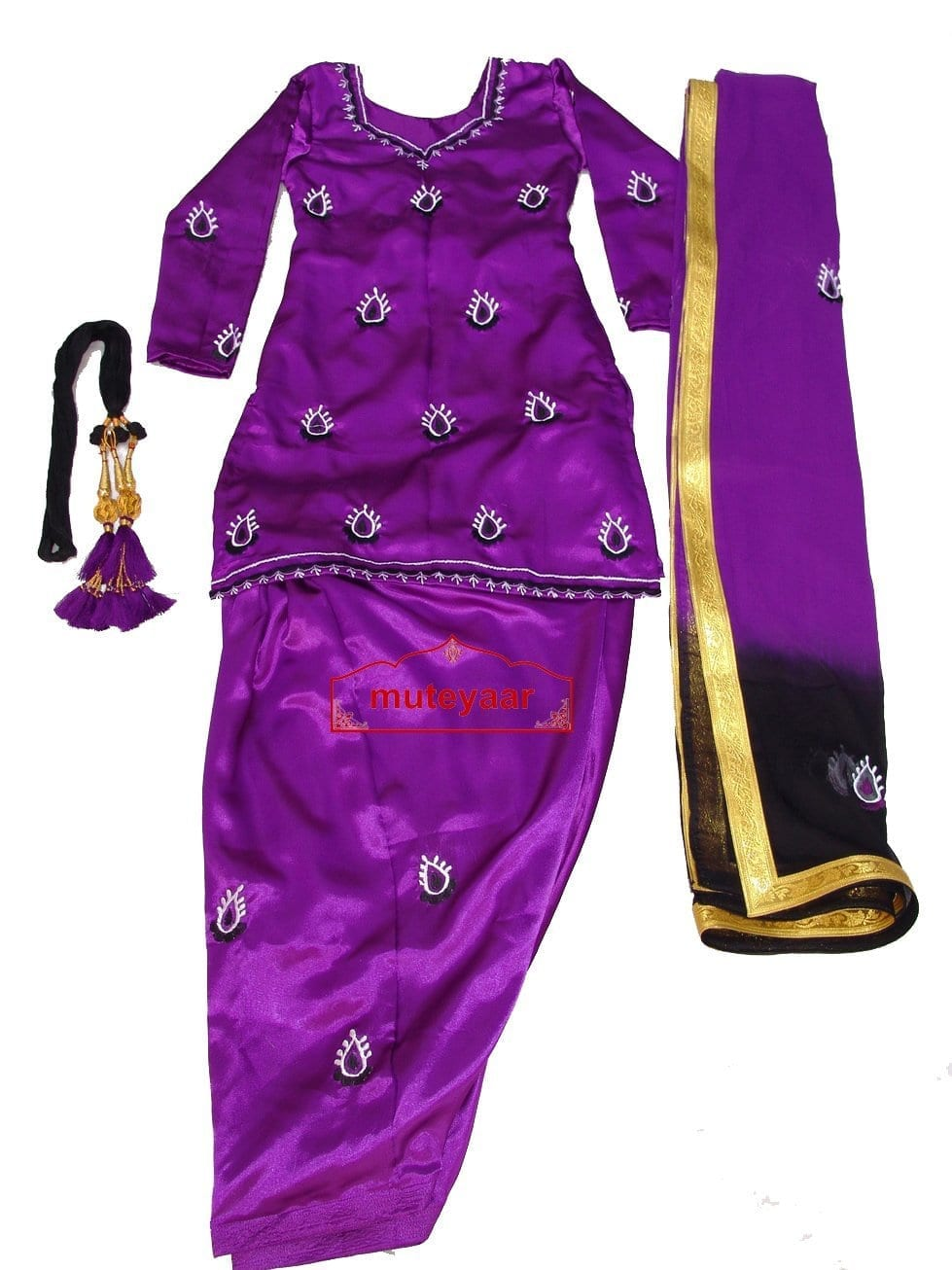 Purple Black Girl's embroidered Giddha Bhangra Costume outfit dress 1