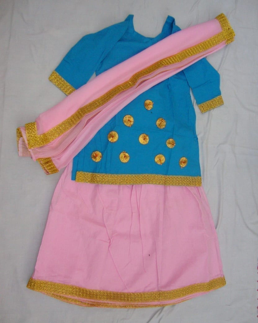 Pink Blue custom made GIDDHA  Costume outfit ghagra dress 1