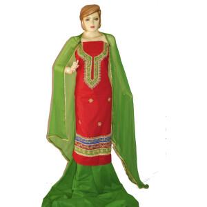 Gota Patti Embroidery 100% cotton Salwar Suit PURE CHIFFON Dupatta RM327