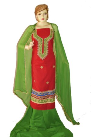 Gota Patti Embroidery 100% cotton Salwar Suit PURE CHIFFON Dupatta RM327