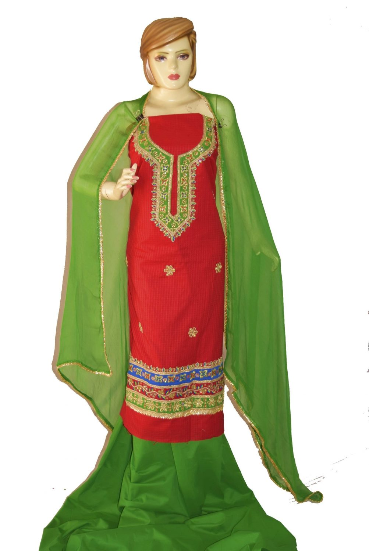 Gota Patti Embroidery 100% cotton Salwar Suit PURE CHIFFON Dupatta RM327 1